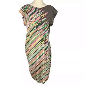 BCBG MAXAZRIA Jersey Dress Ruched Stripe Size L